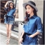 Lady Rosie Sporty Blue Denim Cotton Playsuit with Ribbon L188-69B07 thumbnail 1
