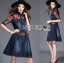 Lady Marissa Sweet Country Red Roses Embroidered Organza and Denim Shirt Dress with Belt L212-85C01 thumbnail 2