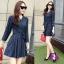 Mini Dress ผ้าทอลายสก๊อต โทนสีกรม สวยๆๆ แขนยาว คอวี thumbnail 3