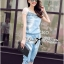 Lady Rebecca Embroidered and Crystal Embellished Denim Ensemble Set thumbnail 4