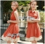 DR-LR-163 Lady Sasha Shirt Dress in Orange and White thumbnail 5