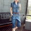 Lady Alison Sporty Elegant Embellished Denim Pantsuit wit Belt L199-95C07 thumbnail 8