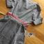Lady Sara Minimal Asymmetric Grey Dress with Red Belt L250-69C09 thumbnail 13