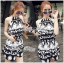 DS-PP-039 Lady Ashley Printed Playsuit in Black and White thumbnail 3
