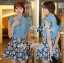 DS-PP-036 Lady Marry Ruffle Denim Shirt and Flowery Skirt Set thumbnail 10
