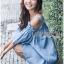 Lady Victoria Casual Chic Off-Shoulder Soft Denim Dress L264-6922 thumbnail 2