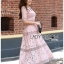 Lady Carly Feminine Pinky Striped Lace Maxi Dress L268-7902 thumbnail 3