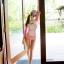 SM-V1-498 ชุดว่ายน้ำแขนยาวสีชมพูขาว เสื้อเปิดร่องอกเซ็กซี่ (เสื้อแขนยาว+บิกินี่) thumbnail 7