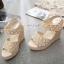 Korea Style รองเท้าส้นเตารีดคุณภาพดี เป็นลูกไม้ thumbnail 4