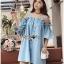 Lady Victoria Casual Chic Off-Shoulder Soft Denim Dress L264-6922 thumbnail 6