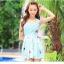 SM-V1-397 ชุดว่ายน้ำทรงชุดแซก สีฟ้าสวยลายน่ารัก เซ็ต 2 ชิ้น ชุดแซก+บิกินี่ thumbnail 3