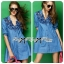 DR-LR-158 Lady Rosalie Smart Chic Embroidered Denim Shirt Dress thumbnail 3
