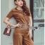 Lady Lyla Modern Minimal Chic Lacy Camel Jumpsuit L258-7905 thumbnail 5