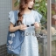 Lady Jill Geometry Flared-Sleeved Brocade Denim Dress L193-69C05 thumbnail 5