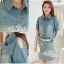 Korean pins sleeve dress short sleeve denim skirt package with a belt by Aris Code thumbnail 8