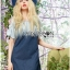 Lady Marina Cut-Out Pearl Embroidered Ombre Denim Dress L262-7908 thumbnail 2