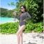 SM-V1-458 ชุดว่ายน้ำแขนยาววันพีช สีดำลายขาวดำสวยๆ มีซิปด้านหน้า thumbnail 8