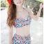 SM-V1-380 ชุดว่ายน้ำเอวสูง ลายดอกไม้สีน้ำเงินแดงสวยๆ thumbnail 9