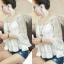 เสื้อลูกไม้ แฟชั่นเกาหลี. มีซับในแถม thumbnail 2