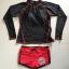 SM-V1-579 ชุดว่ายน้ำแขนยาว เสื้อสีดำ กางเกงขาสั้นสีแดงสวย ๆ thumbnail 12