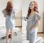 Lady Jill Geometry Flared-Sleeved Brocade Denim Dress L193-69C05 thumbnail 9