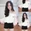 เสื้อชีฟองสไตส์เกาหลีน่ารักๆไฮโซสุดๆแต่งดอกฟรุ่งฟริ้งปลายแขน thumbnail 6