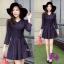 Mini Dress ผ้าทอลายสก๊อต โทนสีกรม สวยๆๆ แขนยาว คอวี thumbnail 2