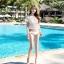 SM-V1-446 ชุดว่ายน้ำ เซ็ต 3 ชิ้น สีขาวครีม บรา+บิกินี่+เสื้อตาข่าย thumbnail 13