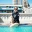 SM-V1-518 ชุดว่ายน้ำแขนยาว สีดำ สกรีนอักษรที่หน้าอก กางเกงบิกินี่ thumbnail 3