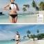 SM-V1-398 ชุดว่ายน้ำ เสื้อกล้ามซิปหน้า กางเกงบิกินี่สีดำ thumbnail 4
