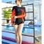 SM-V1-607 ชุดว่ายน้ำแขนยาว สีแดง-ดำ thumbnail 9
