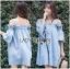 Lady Victoria Casual Chic Off-Shoulder Soft Denim Dress L264-6922 thumbnail 3