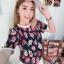 เสื้อลายดอกผ้าชีฟองอัดพิชเนื้องนิ่มเบาสบายๆ thumbnail 5