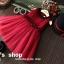 GD027 ชุดเดรสแขนกุดสีแดง ปกสีดำ กระโปรงฟูฟู สวยงาม thumbnail 3
