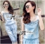 Lady Rebecca Embroidered and Crystal Embellished Denim Ensemble Set thumbnail 3
