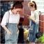Lady Coco Cotton White Shirt with Denim Skirt Dress L202-69B10 thumbnail 2