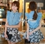 DS-PP-036 Lady Marry Ruffle Denim Shirt and Flowery Skirt Set thumbnail 8