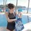 SM-V1-423 ชุดว่ายน้ำวันพีช สีดำ ซีทรูเซ็กซี่ แต้มลายจุด thumbnail 10