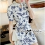 DR-LR-277 Lady Sweet Pearl Collar Blue Floral Blooming Chinoise Dress thumbnail 5