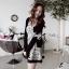 DR-LR-087 Lady Avril Minimal Chic Swirl Print Dress thumbnail 3