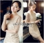 Lady Nicole Sophisticated Golden See-through Laser-cut Sequin Dress L214-89C03 thumbnail 1