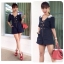 Lady Camilla Navy Playsuit in White thumbnail 2