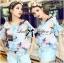 Lady Katie Dreamy Colourful Printed Layered Chiffon Top and Satin Shorts Set L166-79C11 thumbnail 1