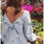 Lady Mila Sweet Minimal Back-Ribbon Baby Blue Dress L268-6919 thumbnail 4