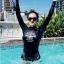 SM-V1-518 ชุดว่ายน้ำแขนยาว สีดำ สกรีนอักษรที่หน้าอก กางเกงบิกินี่ thumbnail 5