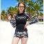 SM-V1-667 ชุดว่ายน้ำแขนยาว โทนสีดำ ลายสวย Love_XOXO thumbnail 1
