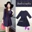 Mini Dress ผ้าทอลายสก๊อต โทนสีกรม สวยๆๆ แขนยาว คอวี thumbnail 1