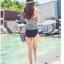 SM-V1-356 ชุดว่ายน้ำเอวสูง เสื้อทรง Tankini ลายขาวดำสวย thumbnail 12
