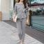Lady Chloe Houndstooth Peplum Top and Skinny Pants Set L148-85E11 thumbnail 5