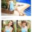 SM-V1-397 ชุดว่ายน้ำทรงชุดแซก สีฟ้าสวยลายน่ารัก เซ็ต 2 ชิ้น ชุดแซก+บิกินี่ thumbnail 8